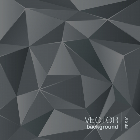 Dark grey background abstract polygon triangle style  Vector Ilustração