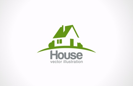 House abstract real estate countryside vector