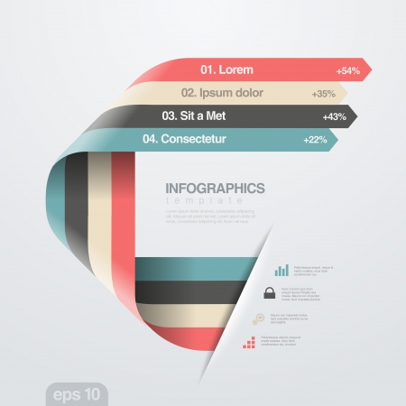 Infographics design template  Creative trendy ribbon flat style