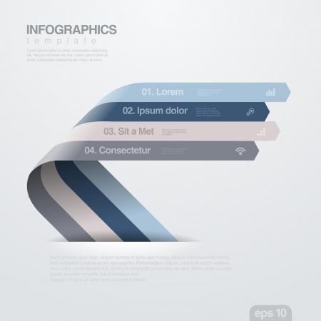 インフォ グラフィック デザイン テンプレート創造的なトレンディなリボン フラット スタイル役に立つビジネスおよび会計報告