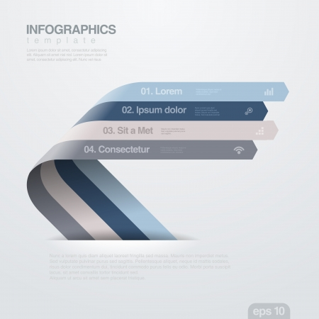 financial report: Infographics design template  Creative trendy ribbon flat style  Useful for business and financial report  Illustration