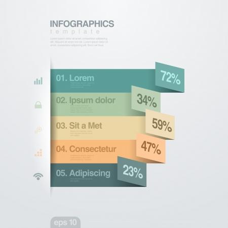 tendencja: Infografika wektor szablon pień modny styl papier wstążka mieszkanie Przydatne do raportu rocznego, biznesu i finansów