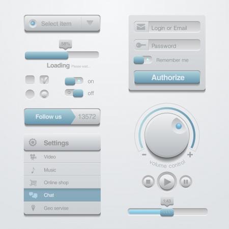 키트: 사용자 인터페이스 응용 프로그램 디자인 요소 템플릿 키트. 적응 애플 리케이션을위한. 플랫 3D UI.