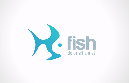 Fish abstract vector design template  Creative design concept  Seafood restaurant idea  Silhouette icon  Ilustração