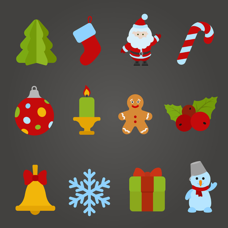 Christmas vector flat design icon set  Happy new year theme collection  Christmas tree, Santa Claus, Candle, Cookie, Bell, Snowflake, Gift, Snowman  Vector