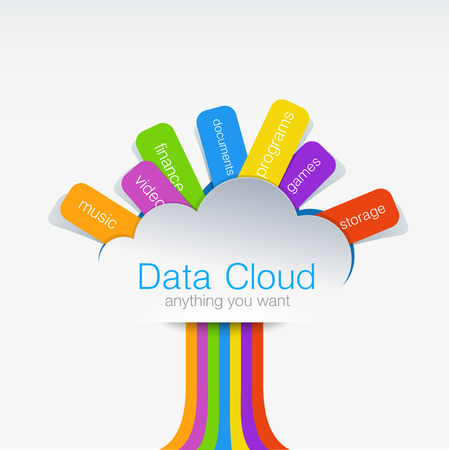cloud computing services: Cloud computing Creative design concept of data tree  Business wireless technology - upload   download your data Illustration