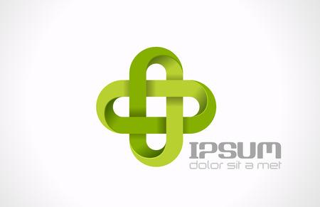 シンボル: 薬局の緑の十字の抽象的デザイン テンプレート医学、医療、緑クリエイティブ ・ コンセプト アイコン製薬エコシンボル