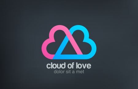 l: Heart locked - cloud of love vector l