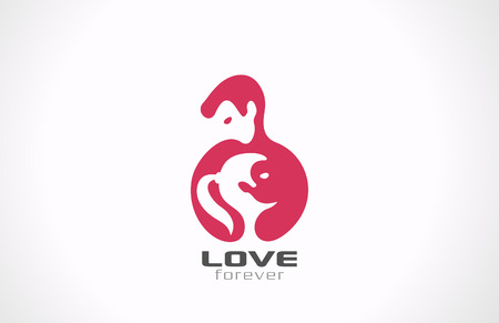 Couple in Love vector template  Happy Valentines day  Yin Yang Illustration