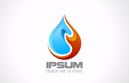 aceites: Vector de la gota del agua del fuego plantilla de dise�o icono de concepto creativo