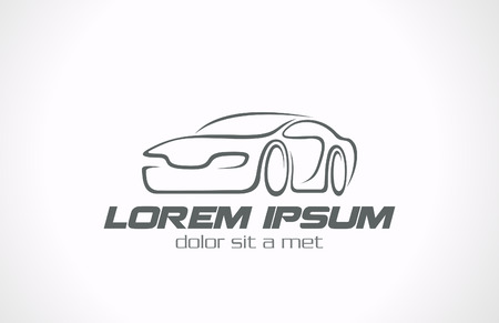 car: Icon linee Car astratta vector concetto di design Auto Race Vettoriali