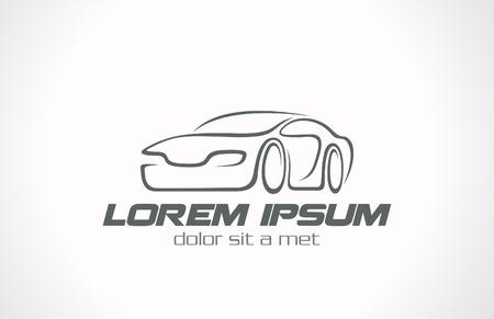 autolavaggio: Icon linee Car astratta vector concetto di design Auto Race Vettoriali