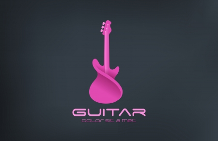 Electro Guitar twisted vector design template. Alternative music concept icon. Pink party creative sound. Musician store.