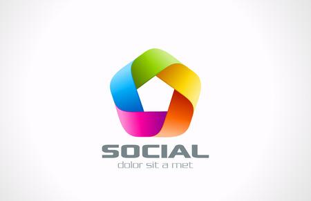 Pentagon Abstract Logo shape colorful design template  Ribbon infinity shape Infinite looped icon  Social marketing symbol