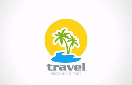 logotipo turismo: Turismo Logo Viajes abstracta plantilla vector Palms, el sol, las vacaciones de vacaciones mar icono