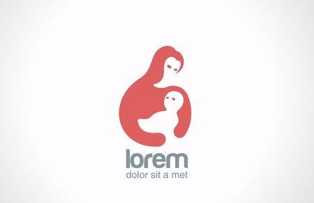 Mother and child vector logo design template  Mom holds baby in hand icon  Concept of Fund for Parents   children theme