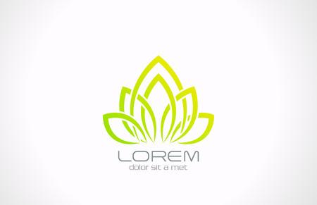 スパ ヘルスケア Eco 花アイコン デザイン テンプレート健康緑色のエコロジー クリエイティブ シンボル繁栄抽象的な性質記号  イラスト・ベクター素材