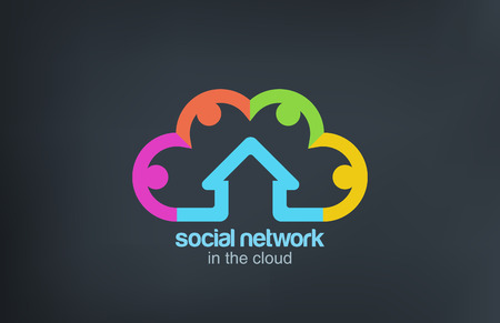 my home: Social Cloud Logo vector icon design template  Social Marketing Network concept symbol Startup business abstract idea