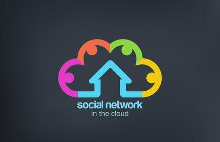bulut: Sosyal Bulut Logo vektör simge tasarım şablonu Sosyal Pazarlama Ağı kavramı sembol Başlangıç iş soyut bir fikirdir Çizim