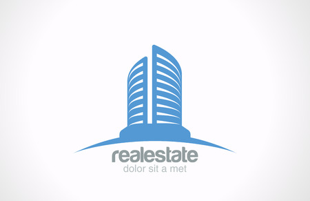 rascacielos: Inmobiliario Logo vector plantilla de dise�o del rascacielos de negocios abstracto icono concepto creativo s�mbolo Realty Building Silueta signo sobre Idea horizonte Arquitecto Construcci�n