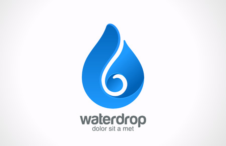 droplet:  Blue Water drop Logo abstract vector icon design template  Waterdrop creative shape Liquid Droplet concept symbol
