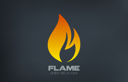 Fire flame Logo vector icon design template  Çizim