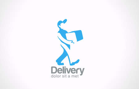 delivery package: Logo Service Delivery man carries package vector icon design template   Messenger creative concept Courier with parcel idea