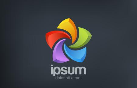5 개 점의 스타 로고 추상 다채로운 벡터 아이콘 디자인 템플릿 사회 상징