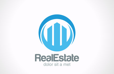 modern buildings: Immobilier Gratte-ciel Logo ic�ne de mod�le de conception abstraite symbole de concept cr�atif affaires Commercial Realty signe vecteur Illustration