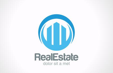 logos negocios: Inmobiliaria icono de la insignia de la plantilla de dise�o Rascacielos abstracto creativo del concepto del s�mbolo Negocios Propiedad comercial Realty vector signo Vectores