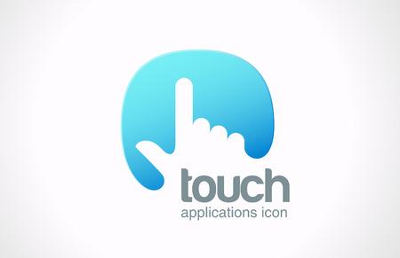 web technology: Tecnologia dello schermo di tocco Logo astratto modello vettoriale icona del design della mano dito premere sul touchscreen concetto creativo simbolo