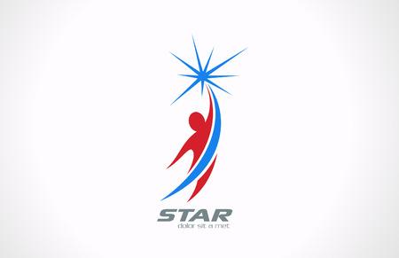 stelle blu: Sport Fitness Business Corporate logo icon modello di progettazione Uomo volante e ottenere Stella Success concept creativo