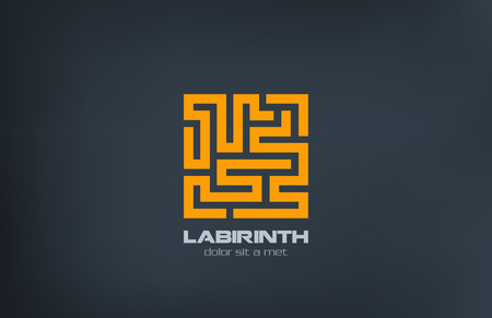 Labyrinth illustration icon design template  Puzzle rebus concept Programming Coding emblem symbol  Maze labirinth creative sign  Çizim