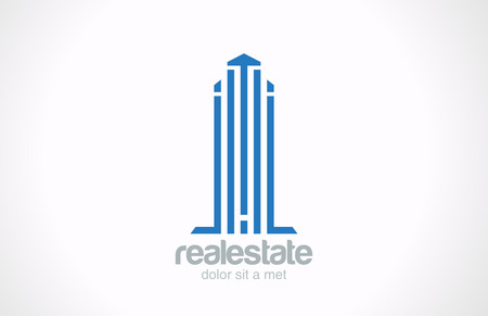 Skyscraper Real Estate Logo vector icon design template  Realty sign  Logotype Corporate Business Building  Architecture concept  Vector