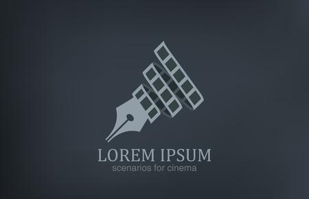 Scenario's voor film logo vector pictogram ontwerp sjabloon Cinematic symbool Pen met film tape schrijver, scenarist symbool