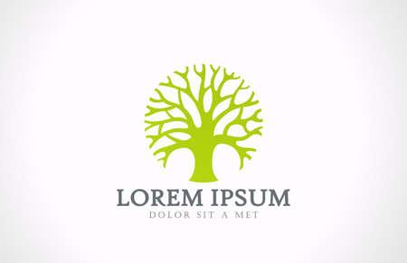summer trees: Concepto creativo �rbol C�rculo verde vector logo Dise�o de jardines ecolog�a icono idea Eco