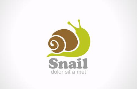Estilo divertido de dibujos animados vector de la insignia del diseño del caracol Diseño creativo icono divertido concepto