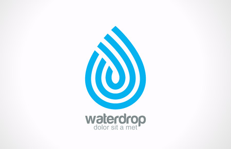 waterdrop: Water drop abstract vector logo design  Line art creative concept Waterdrop blue clean clear aqua symbol  Illustration