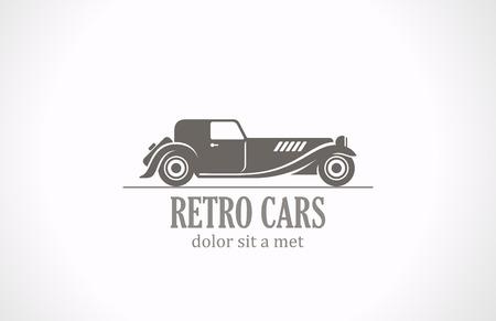Retro Vintage auto silhouet abstract vector logo design Old Classic voertuig