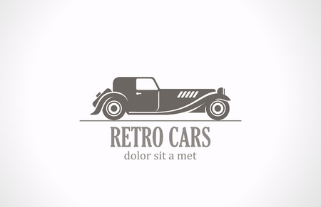 vintage cars: Retro Vintage car silhouette abstract vector logo design  Old Classic vehicle