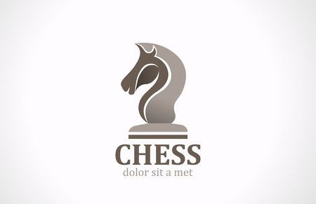 Chess club Horse shape silhouette vector logo design template icon