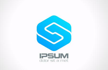 logos negocios: Tecnolog�a de Negocios dise�o del logotipo icono Loop Infinito abstracto del vector de la letra S s�mbolo emblema concepto corporativo creativo