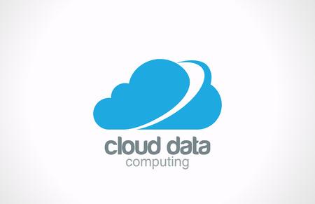Cloud computing vector logo design  Creative global internet concept Network data transferring icon  Illustration