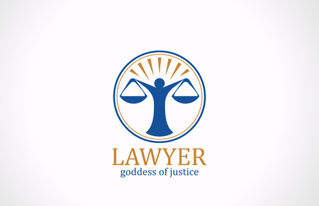 Lawyer symbol Scales vector logo design  Legal concept  Law icon Themis silhouette  Attorney sign  Vector