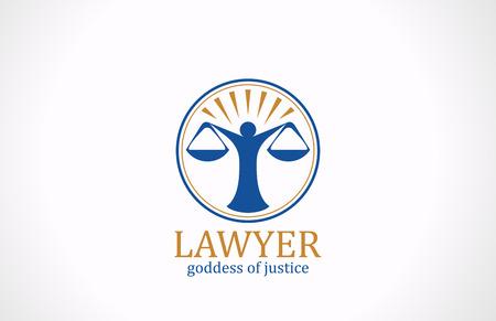 Prawnik symbol Wagi wektorowe logo design ikona Prawo koncepcja prawna sylwetka prokuratora znak Themis Logo