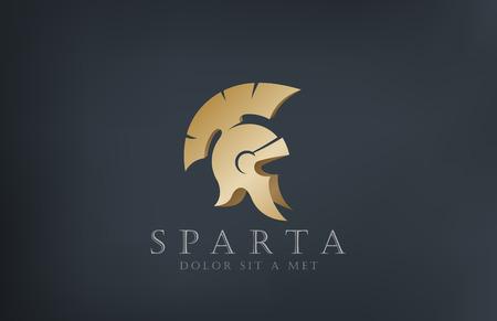 빈티지 골동품 헬멧 벡터 로고 디자인 서식 파일 역사 스파르타 개념 고대 로마 오래된 상징 일러스트