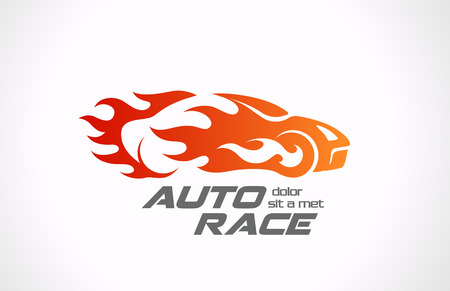 Sport Car Speed Race vector logo design  Fire vehicle in motion Auto rally in flame creative concept  矢量图像