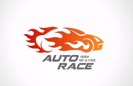 vecteur vitesse de la voiture de sport de course véhicule logo Fire design en mouvement automatique de rassemblement au concept créatif flamme
