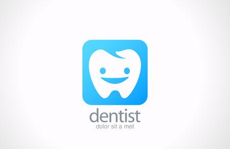 Dentista vector plantilla de diseño del logotipo concepto Clínica dental idea diente sano feliz