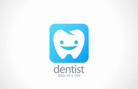 Dentist vector logo design template  Dental clinic concept Happy healthy tooth idea  Illustration